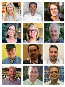 Top row: The new members of the SAF Board of Directors are Retailer Kaitlin Radebaugh, AAF, Wholesaler Oscar Fernandez, and Grower Jamie Kitz. Second row: The new members of the SAF Retailers Council are Jennifer Barnard, Rakini Chinery, AAF, AzMF, and Keith Rockcastle. Third row: The new members of the SAF Wholesalers Council Rodger Callister, Alvaro Crespo, and Alejandro Perez. Fourth row: The new members of the SAF Growers Council are Matt Altman, Austin Bryant, and Robin van der Schaaf.