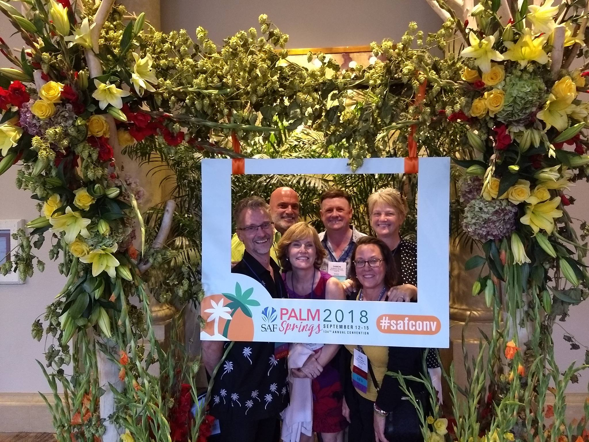 Jenny Behlings, AAF, AIFD, PFCI, SDCF, (upper right) was one of more than 450 floral industry members who participated in SAF Palm Springs 2018 in September, and then returned home with actionable ideas. Pictured with Behlings from left: J. Robbin Yelverton, AAF, AIFD, PFCI, of Blumz by...JRDesigns in metro Detroit, Michigan; Marlin Hargrove, AAF, AIFD, PFCI, of the Pete Garcia Company in Atlanta, Georgia; Theresa Colucci, AAF, AIFD, PFCI, of Meadowscent in Gardiner, New York; D Damon Samuel, AAF, AIFD, PFCI, NAFD, NMF, of the Bill Doran Co. in Omaha, Nebraska; and Julie Poeltler, AIFD, CAFA, PFCI, of Fountain of Flowers & Gifts in Lone Tree, Iowa.