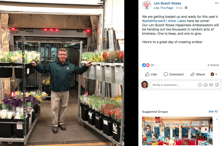 In Plymouth, Minnesota, the team at Len Busch Roses got into the Petal It Forward spirit with social media graphics, posts — and planned giveaways of their own.