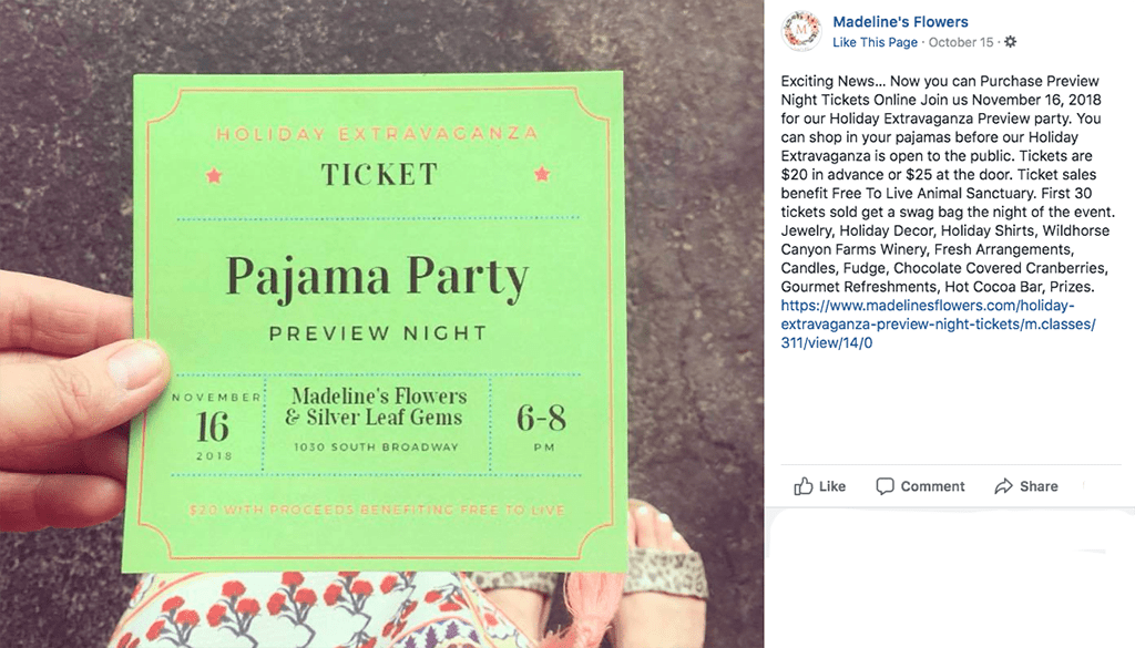 Cold weather calls for nesting — preferably in warm, cozy duds. Mindful that people treasure personal comfort, the owners of Madeline's Flowers in Edmond, Oklahoma, came up with a fun concept to kick off their holiday shopping season: a pajama party.