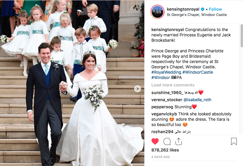 For her Oct. 12 wedding to Jack Brooksbank, Princess Eugenie hired London-based florist Rob van Helde.