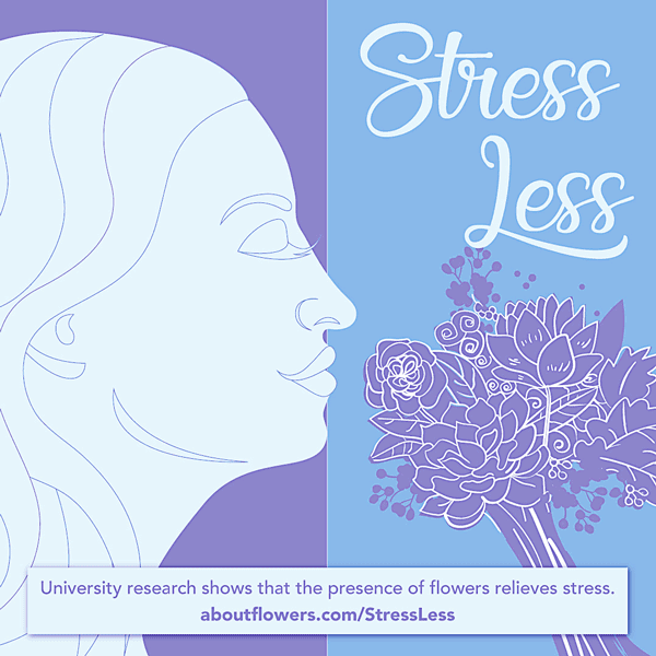 Stress Less Graphic about university research that reveals that flowers relieve stress