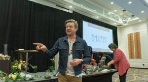 "During ""Design Hacks and Smart Services to Delight Consumers,"" Derek C. Woodruff, AIFD, CFD, CF, PFCI of Floral Underground in Traverse City, Michigan, talked about the allure of in-store workshops and experiences for customers"