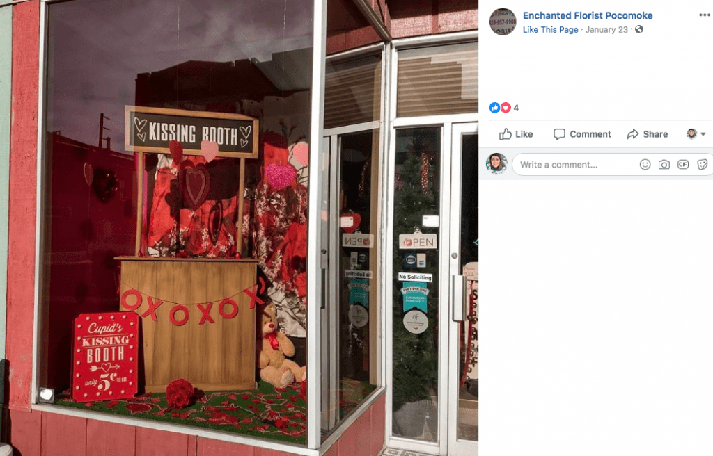 Kissing Booth Elicits Photo Ops, Early V-Day Orders