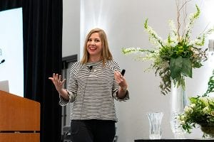 "Social media marketing pro Crystal Vilkaitis of Crystal Media group encouraged attendees to ""pick one new thing to do in social media this week"" during her presentation."