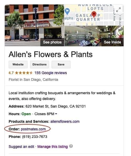 Postmates Google Local Listing