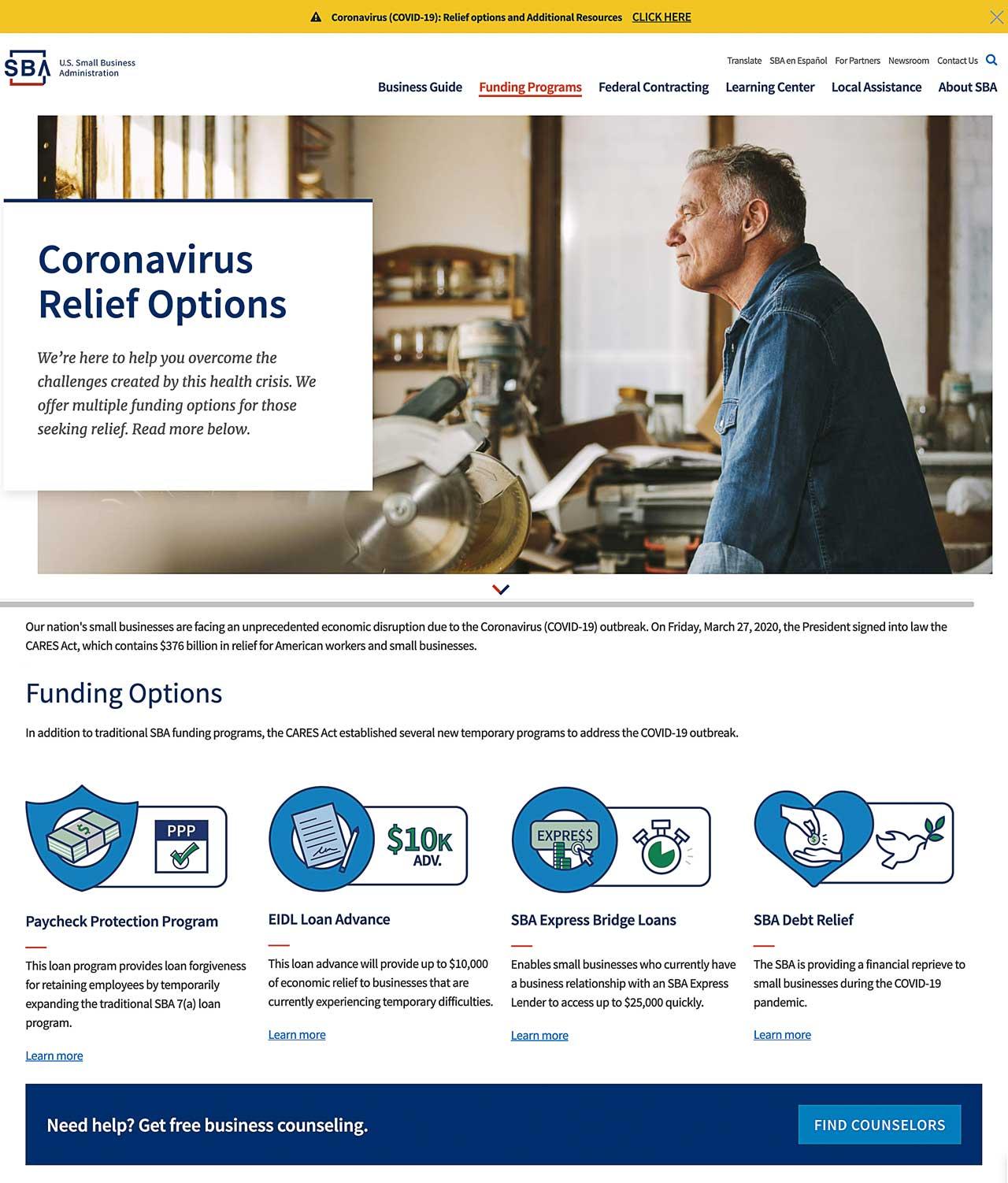 SBA-Corona Virus Relief Options landing page